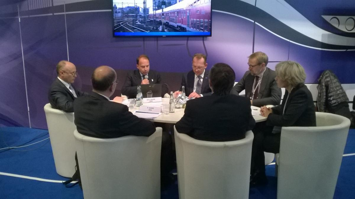 GSA Head of Market Development Gian-Gherado Calini joins a panel discussion hosted by the European Railways Agency (ERA) during Innotrans 2014.