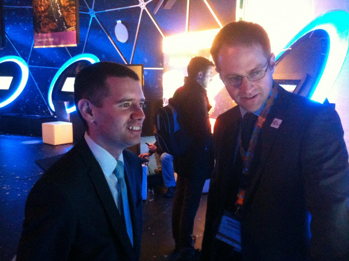 Simon Wright (left) being shown around the Space Expo. © Cendrowicz