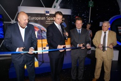 Opening European Space Expo in Prague (from the left): Oldrich Lomecky, Mayor of Prague 1; Head of EU representation, Jan Michal; GSA Executive Director, Carlo des Dorides and the Czech Deputy Minister for Transport, Karel Dobeš.