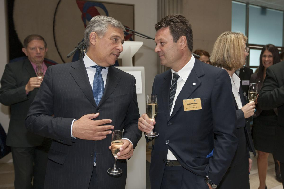 EU Commission Vice President Antonio Tajani and GSA Executive Director Carlo des Dorides toast to the success of Galileo after cutting the ribbon to open the new GSA Prague offices.