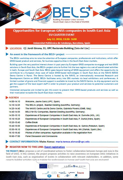 Opportunities for European GNSS companies in South-East Asia - EU CLUSTER EVENT