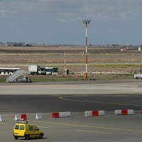 """A """"Follow Me"""" vehicle is tracked using EGNOS during a demonstration at Casablanca's airport."""