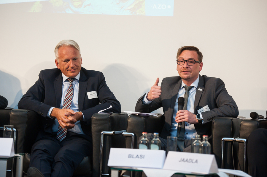 GSA Market Development Officer, Reinhard Blasi (right), at the 2017 Satellite Masters opening event panel with Thomas Beer, from the ESA Copernicus Space Office.