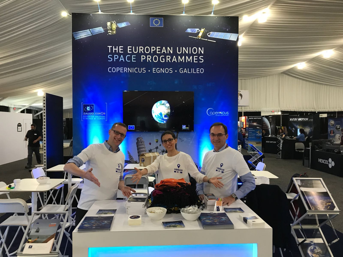 The EU Space Programmes stand team present Galileo, EGNSOS and Copernicus at the 34th Space Symposium