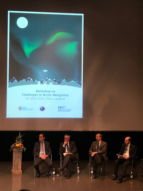 The panel discusses challenges and opportunities in Arctic navigation in Olos, Muonio