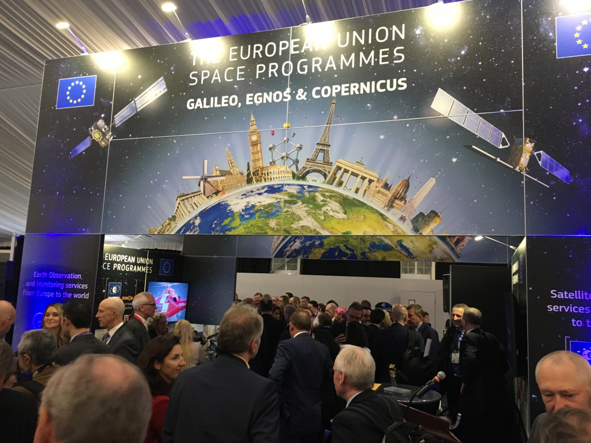 An open house 'meet-and-greet' reception at the EU Space Programmes exhibition stand reinforced the message that Galileo, EGNOS and Copernicus are operational and open for business.