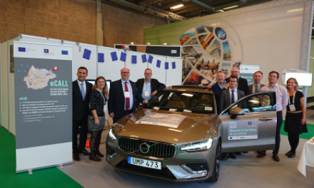 The eCall-enabled Volvo V60 being presented at ITS World Congress Copenhagen