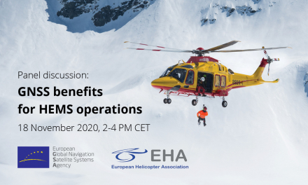 The workshop powered by the GSA and EHA intends to familiarize attendees with the process of implementing EGNOS-based approaches for HEMS