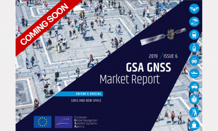 A sneak peek at the cover of the upcoming edition of the GSA's GNSS Market Report.