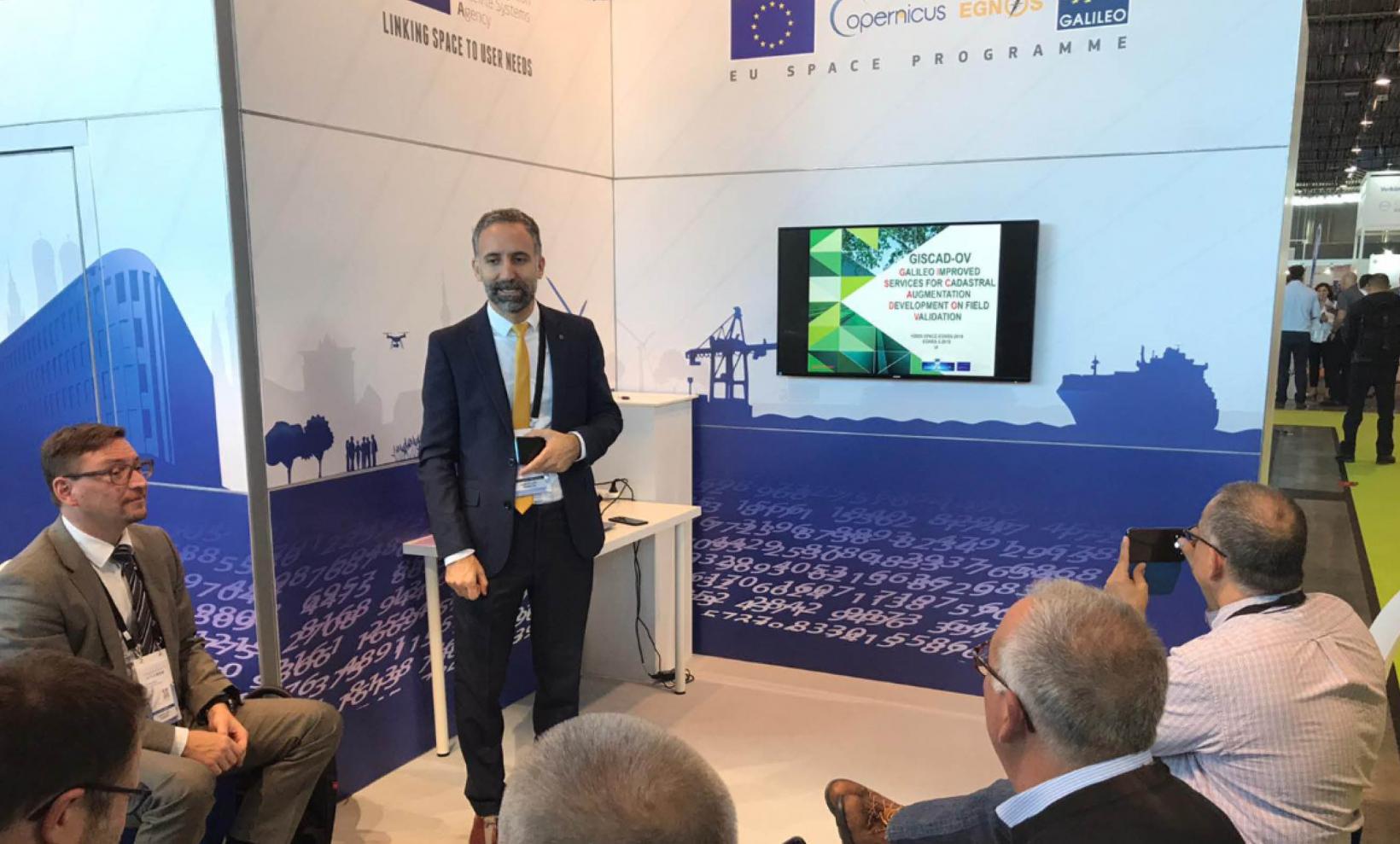 GSA Market Development Innovation Officer Eduard Escalona speaking at the InterGEO Galileo workshop