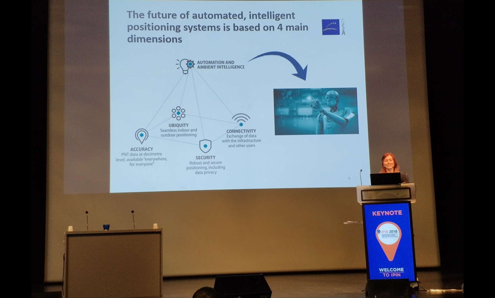 The GSA's Justyna Redelkiewicz delivering a keynote address at the IPIN 2018 indoor positioning and navigation conference