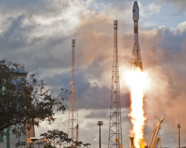 A Soyuz rocket carrying the first two Galileo operational satellites.