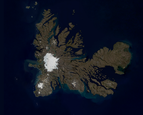 Considered one of the Earth's most isolated islands, Kerguelen Islands are still part of Europe. Photo taken by Copernicus Sentinel-2