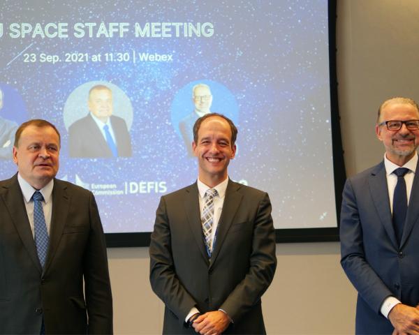 Timo Pesonen, Rodrigo da Costa and Josef Aschbacher at EUSPA headquarters in Prague, Czech Republic.