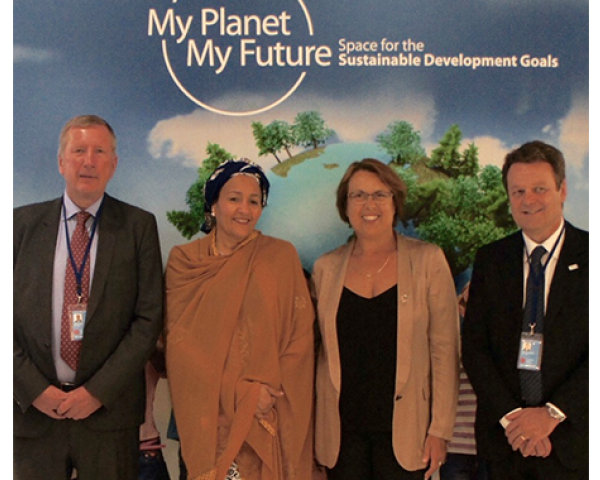 EC Deputy Director General Pierre Delsaux, UN Deputy Secretary General Amina Mohammed, UNOOSA Director Simonetta Di Pippo  and GSA Executive Director Carlo des Dorides at the My Planet, My Future exhibition in New York