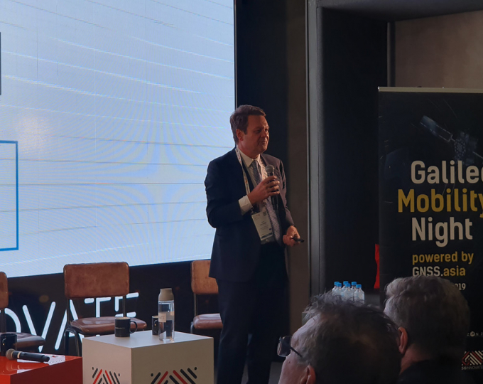 GSA Executive Director Carlo des Dorides speaking at the ITS World Congress in Singapore